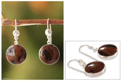 Mahogany obsidian dangle earrings, 'Inca Moons' - Sterling Silver and Obsidian Dangle Earrings