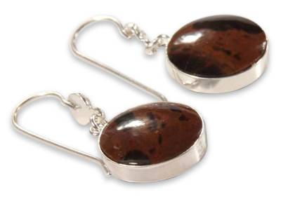 Sterling Silver and Obsidian Dangle Earrings