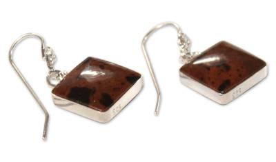 Mahogany obsidian dangle earrings