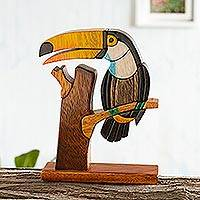 Wood sculpture, 'Amazon Toucan' - Handcrafted Wood Bird Sculpture