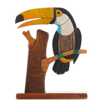 Wood sculpture, 'Amazon Toucan' - Handcrafted Wood Bird Sculpture