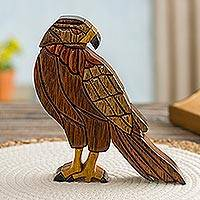 Wood sculpture, 'Majestic Eagle' - Hand Made Ishpingo Wood Sculpture