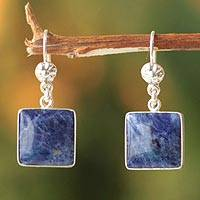 Sodalite dangle earrings, 'Inca Mystique' - Hand Made Sterling Silver and Sodalite Dangle Earrings