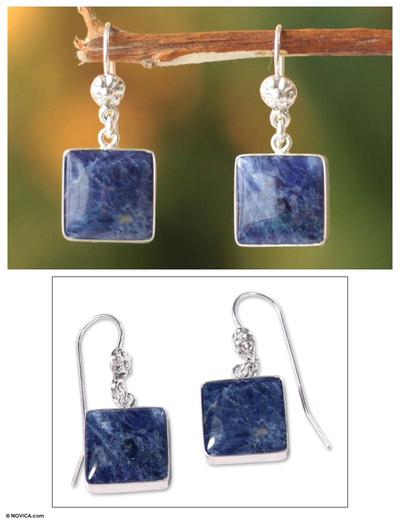 Sodalite dangle earrings, 'Inca Mystique' - Hand Made Sterling Silver and Sodalite Dangle Earrings