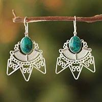 Chrysocolla dangle earrings, 'Qosqo Glory' - Chrysocolla dangle earrings