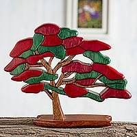 Wood sculpture, 'Royal Poinciana' - Unique Peruvian Wooden Tree Sculpture
