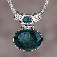 Chrysocolla pendant necklace, 'Amazon Wisdom'