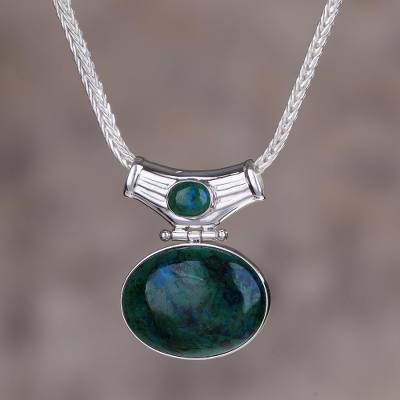 Chrysocolla pendant necklace, 'Amazon Wisdom' - Chrysocolla pendant necklace