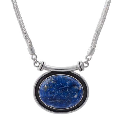 Lapis lazuli pendant necklace, 'Mystical Medallion' - Lapis lazuli pendant necklace