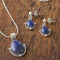 Lapis lazuli jewelry set, 'Mystique' - Handcrafted Lapis Lazuli Pendant and Earrings jewellery Set