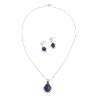 Handcrafted Lapis Lazuli Pendant and Earrings Jewelry Set