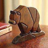 Wood sculpture, 'Andean Bear' - Wood sculpture