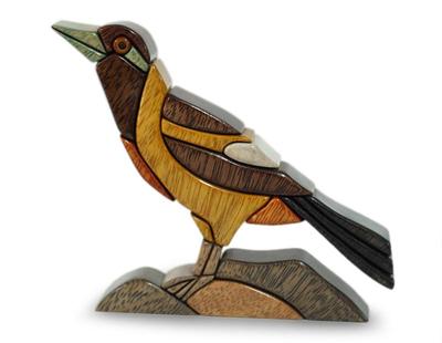 Wood sculpture, 'Peruvian Oriole' - Hand Made Wood Sculpture