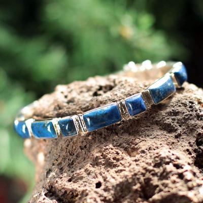 Lapis lazuli wristband bracelet, 'Sweetheart' - Fair Trade Sterling Silver Wristband Lapis Lazuli Bracelet