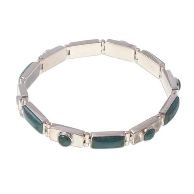 Chrysocolla wristband bracelet, 'Sweetheart' - Chrysocolla wristband bracelet