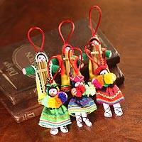 Cotton ornaments, 'Andean Dancers' (set of 6) - Set 6 Handcrafted Folk Art Christmas Ornaments from Peru