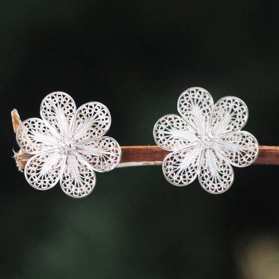 Silver floral earrings, 'Andean Daisies' - Artisan jewellery Floral Fine Silver Button Earrings from Pe