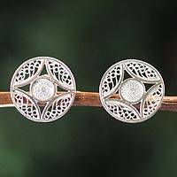 Silver filigree earrings, 'Clouded Moon' - Fair Trade Fine Silver Filigree Earrings