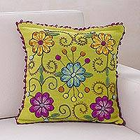 Wool cushion cover, 'Highland Flowers' - Wool cushion cover