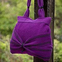 Wool shoulder bag, 'Puno Plum' - Handwoven Dark Purple Wool Shoulder Bag