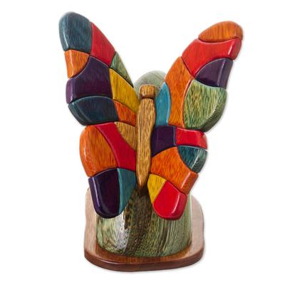 Wood sculpture, 'Andean Butterfly' - Original Wood Butterfly Folk Art Sculpture