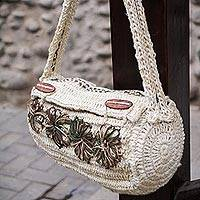 Jute shoulder bag, 'Cajamarca Blooms' - Jute shoulder bag
