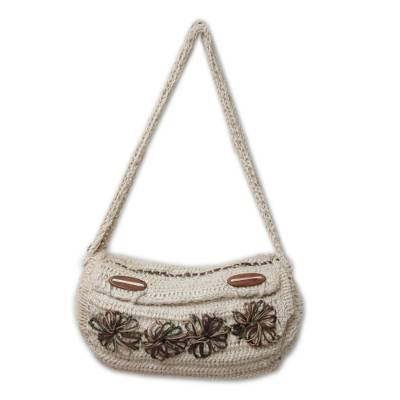 Jute shoulder bag, 'Cajamarca Blooms' - Jute shoulder bag