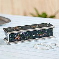 Painted glass box, 'Spring Romance' (medium) - Blue Floral Reverse Painted Glass Box with Birds