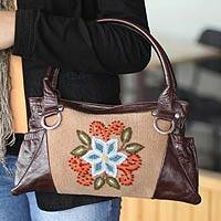 Wool and leather accent handbag, 'Ayacucho Bloom' - Wool and leather accent handbag