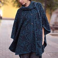 Reversible alpaca blend ruana, 'Peruvian Wildflower in Blue'