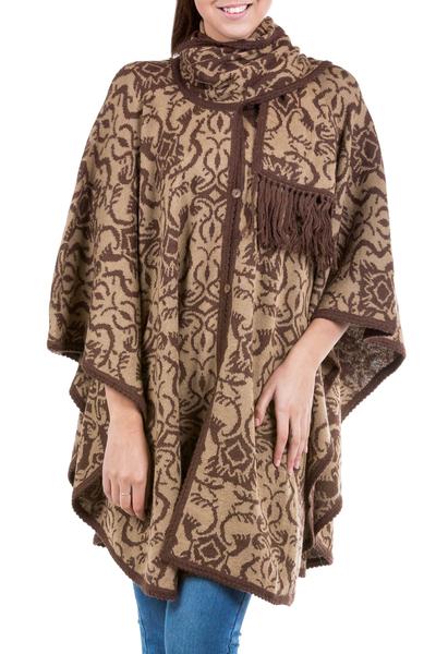 Alpaca blend ruana cloak, 'Nazca Flora' - Alpaca blend ruana cloak