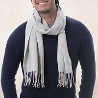 100% alpaca men's scarf, 'Piura Silver' - 100% alpaca men's scarf