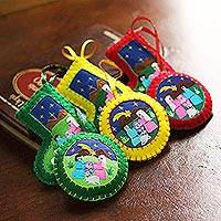 Applique ornaments, 'Christmas Fiesta' (set of 6) - Applique Christmas Ornaments Set of 6 Handmade in Peru