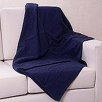 Alpaca blend blanket, 'Ocean Blue' (queen) - Alpaca Wool Blend Solid Blanket from Peru (Queen)
