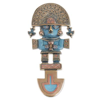 Archaeological bronze and copper wall art from peru god of the lambayque