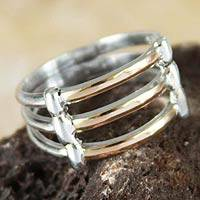 Gold accent band ring, 'Cuzco Warmth'
