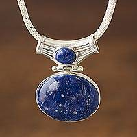 Lapis lazuli pendant necklace, 'Pacific Wisdom' - Unique Sterling and Lapis Lazuli Pendant Necklace
