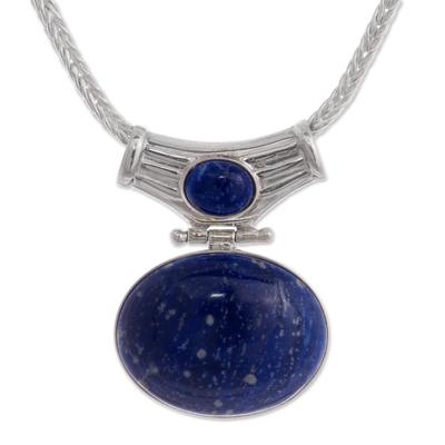 Lapis lazuli pendant necklace, 'Pacific Wisdom' - Unique Sterling and Lapis Lazuli Pendant Necklace