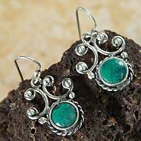 Chrysocolla dangle earrings, 'Light of Peace' - Chrysocolla dangle earrings