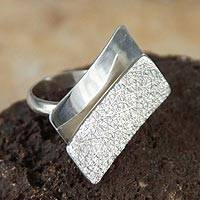 Silver cocktail ring, 'Earth and Sky' - Hand Made Modern Fine Silver Cocktail Ring
