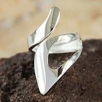 Sterling silver wrap ring, 'Love Encounter' - Modern Sterling Silver Wrap Cocktail Ring