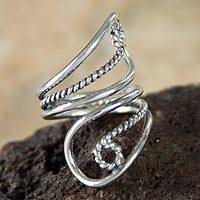 Sterling silver wrap ring, 'Song of Life' - Unique Fine Silver Wrap Ring