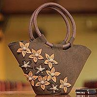 Wool handle handbag, 'Peruvian Autumn' - Wool handle handbag