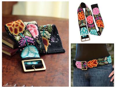 Wool belt, 'Exotic Huantla' - Peruvian Floral Wool Embroidered Natural Belt