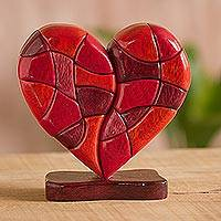 Wood sculpture, 'Heart of Love'