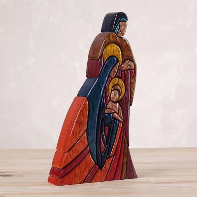 Wood sculpture, 'Sacred Family' - Unique Christianity Religious Wood Sculpture