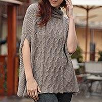 100% alpaca poncho, 'Inca Fusion' - Unique Designer Alpaca Wool Poncho for Women