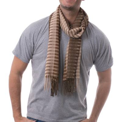 100% alpaca men's scarf, 'Arequipa Adventure' - 100% alpaca men's scarf