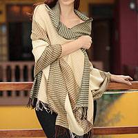 100% alpaca shawl, 'Huancayo Warmth' - Handmade Peruvian Alpaca Wool Patterned Shawl