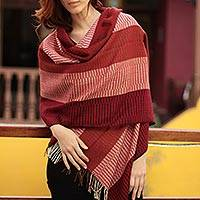 100% alpaca shawl, 'Huancayo Passion' - Handcrafted Alpaca Wool Striped Shawl